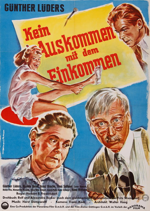 """Kein Auskommen mit dem Einkommen"" (1957), einzige Eigenproduktion der Filmatelier Göttingen GmbH in Co-Produktion mit Panorama Film GmbH.<br>Bildnachweis: Stadtarchiv Göttingen/Repro: Thomas Klawunn"